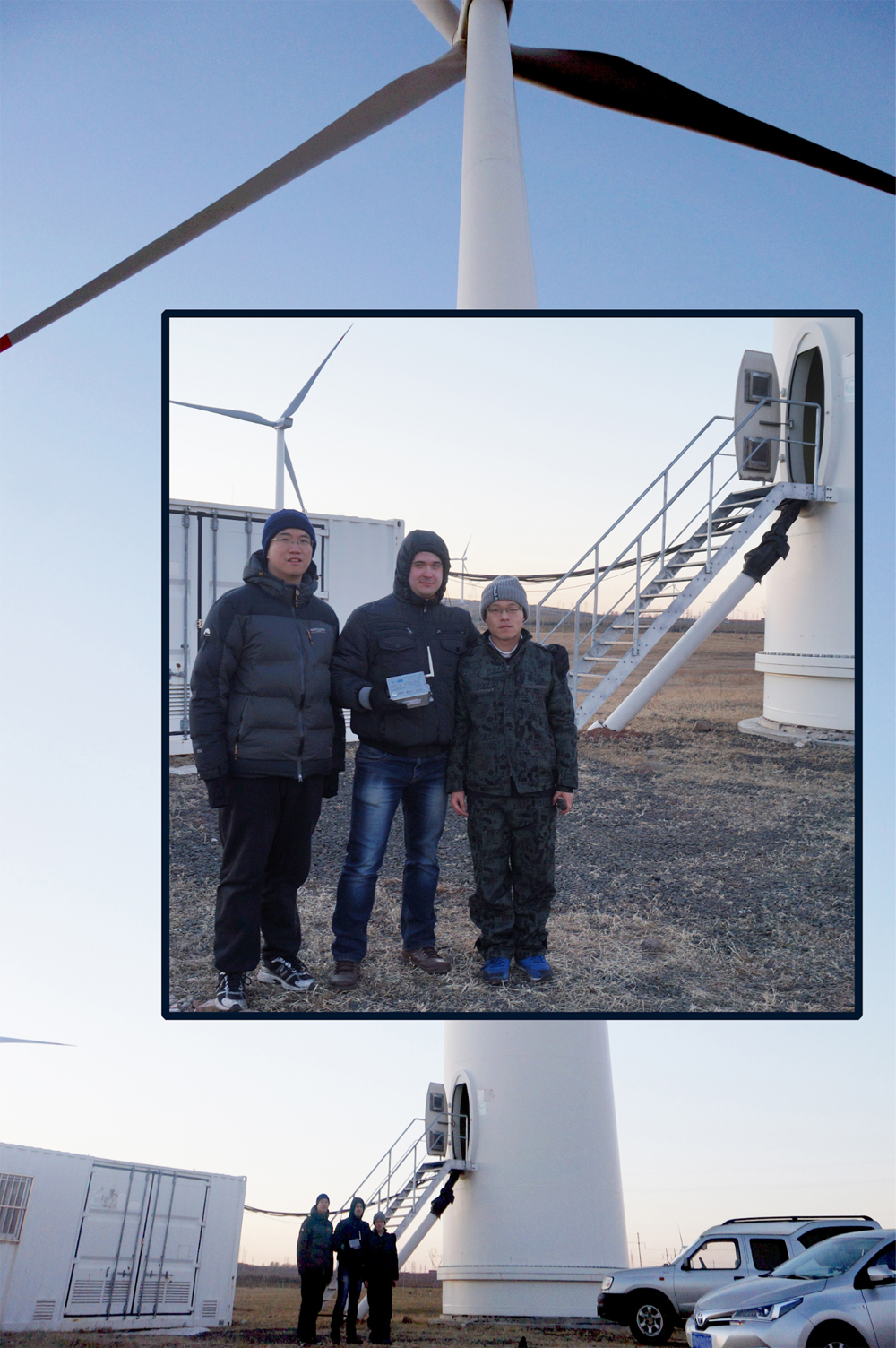 Sergey Vasukevich with Smartbow colleagues near the wind turbine where VibroBox system was tested